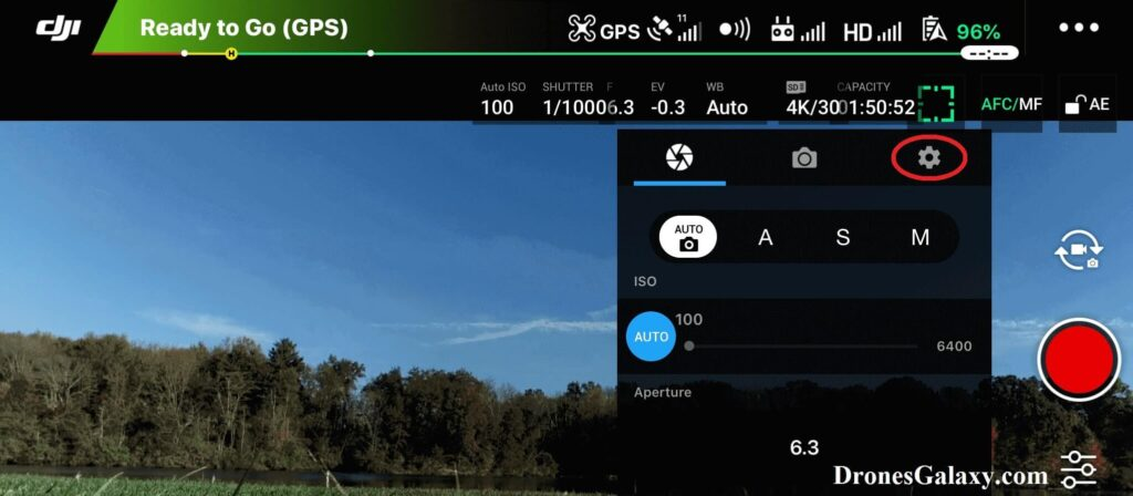DJI GO 4 Video Settings Screen