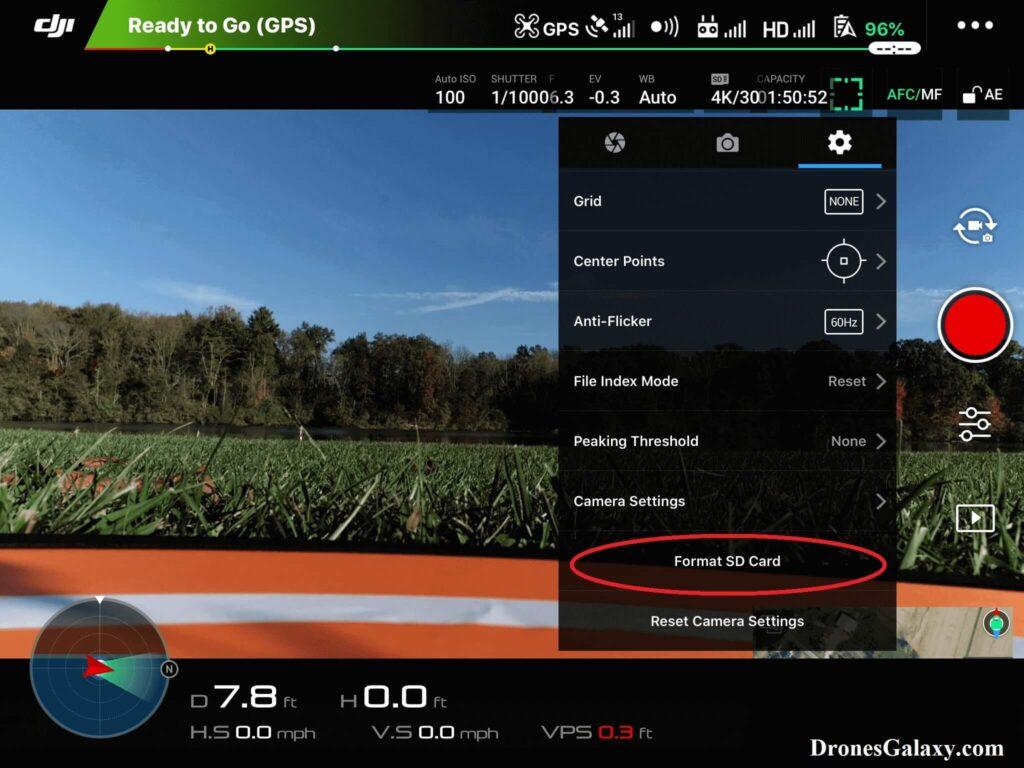 DJI GO 4 Format SD Card Screen